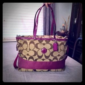 Coach Signature purple & Khaki large tote F19202